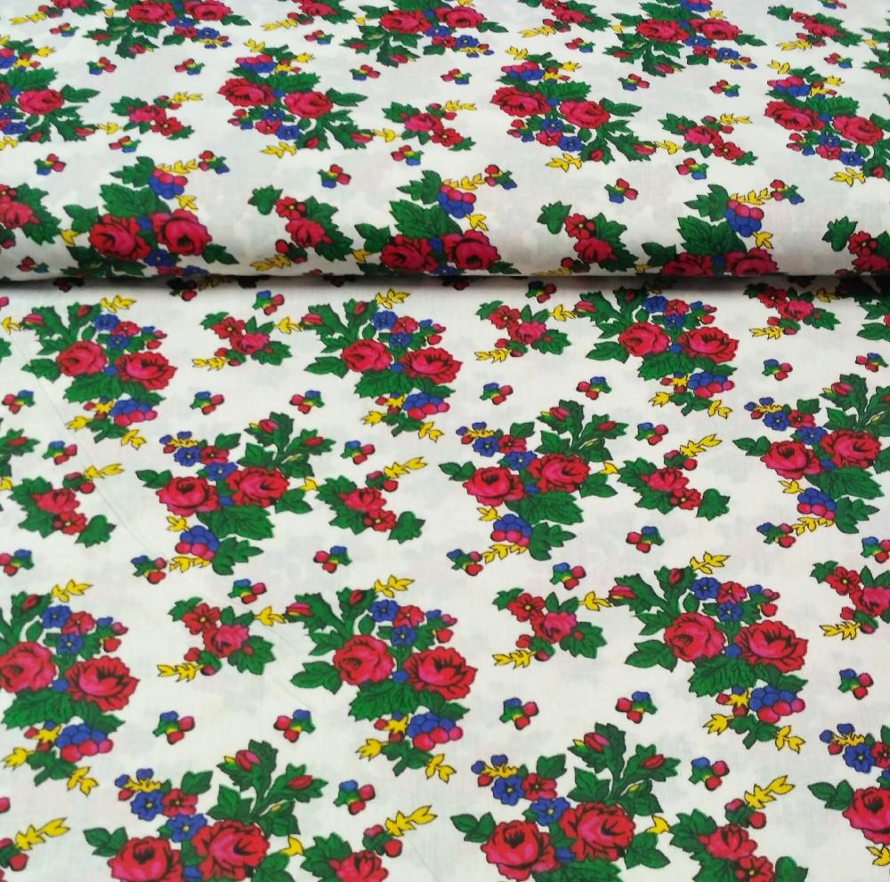 bavlna bílá květy