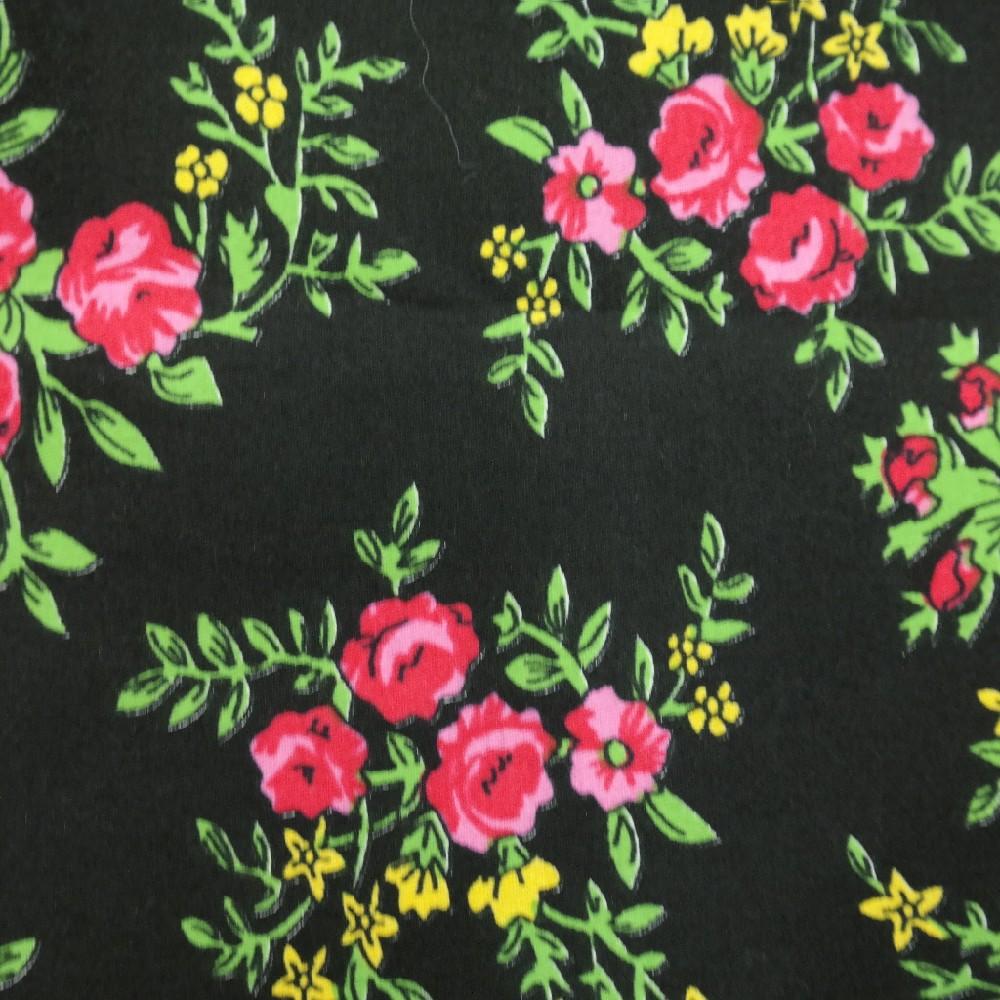 černý Ba.satén,růž.žluté kytičky