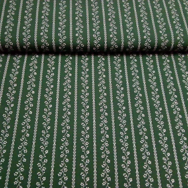 bavlna zelená květinový pruh