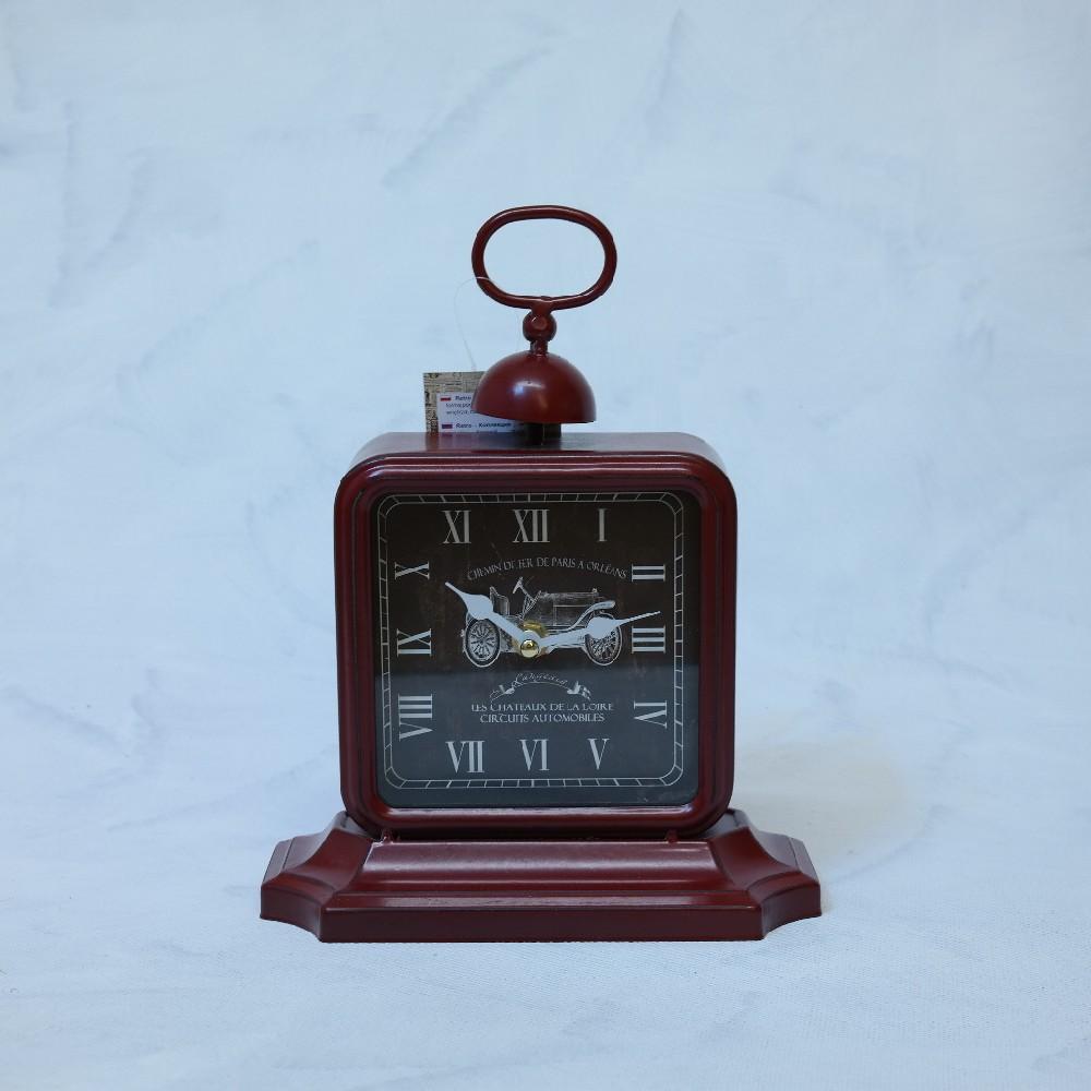 hodiny červ.deco-řím14x14cm
