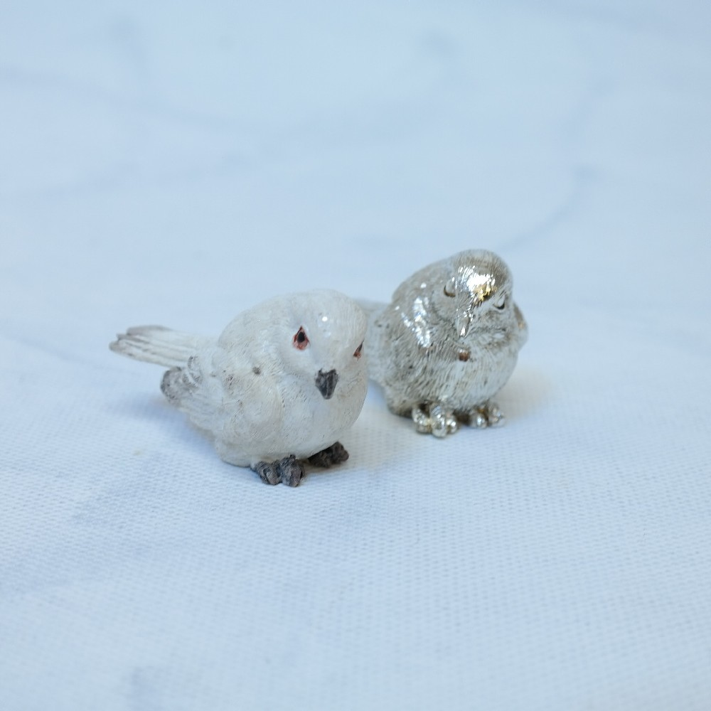 ptáček bílý/stříbrný6cm