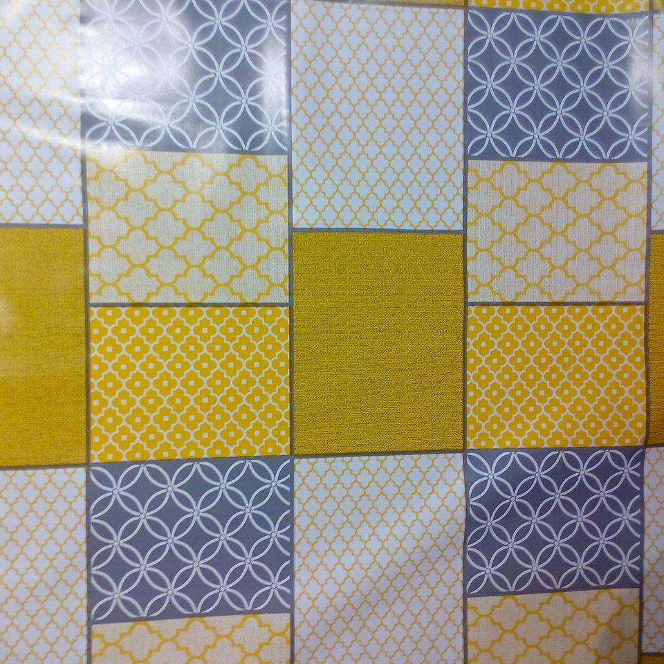 folie kostky ornam. žlut./šed.