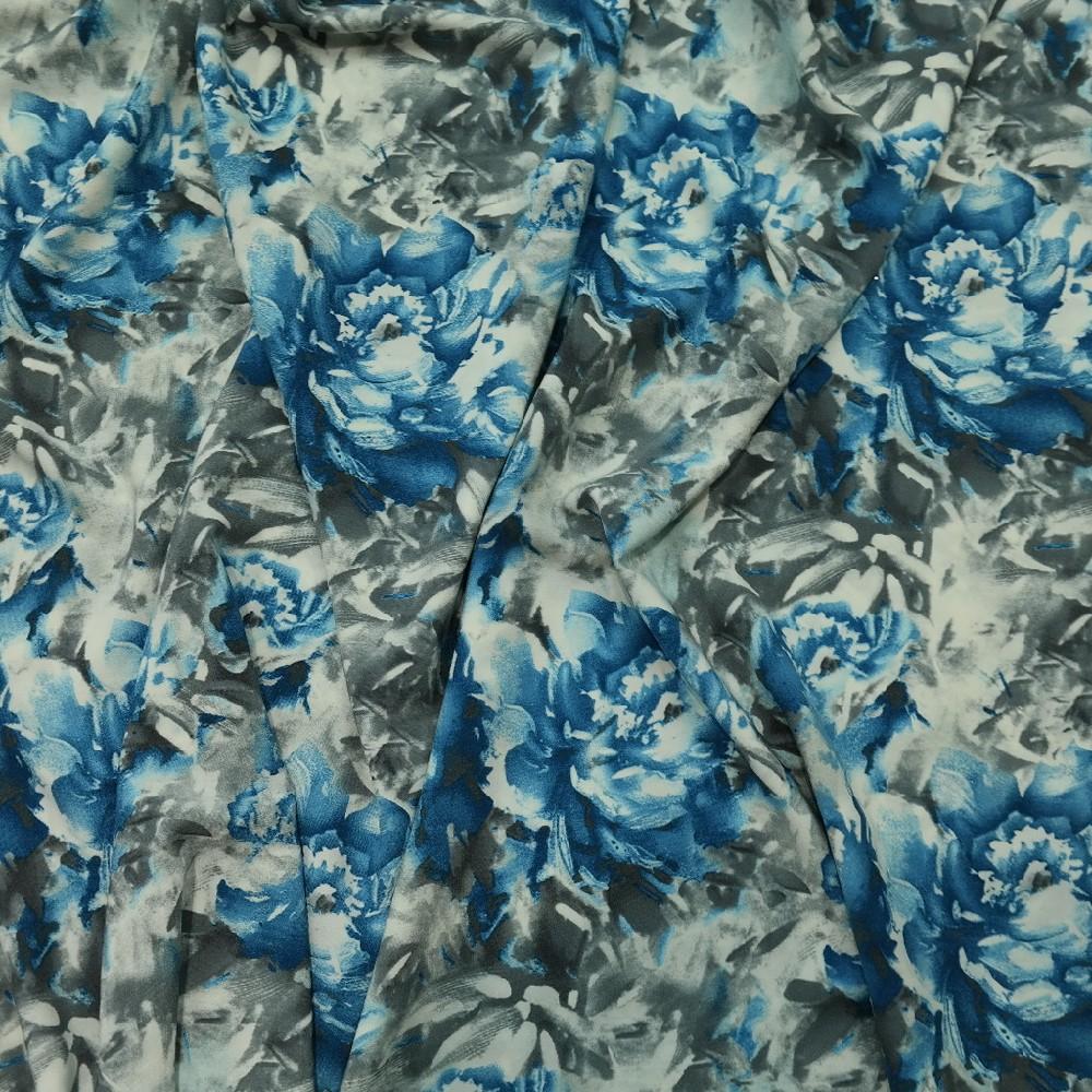 šatovka tyrkys/šedé růže š.150