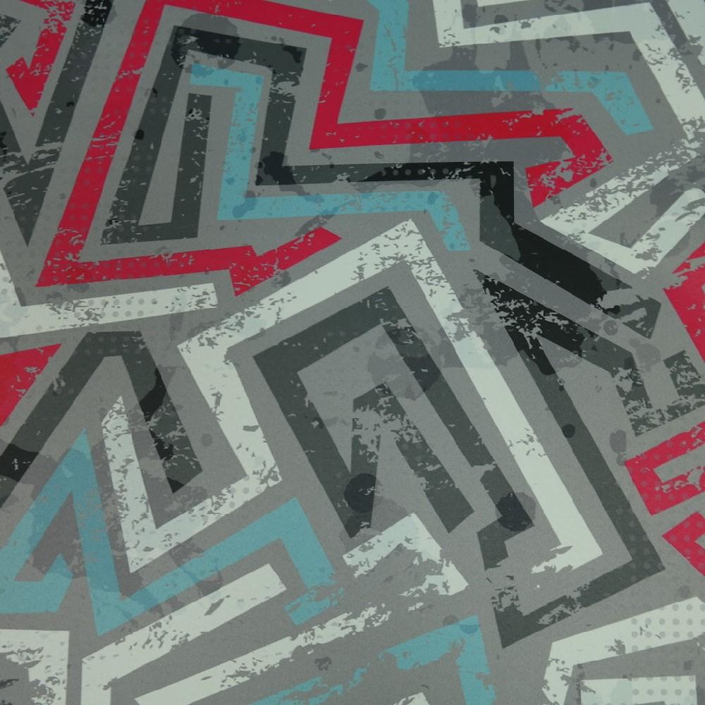 blac out 10100-150 tyrkys.červ. šedý abstr.vzor