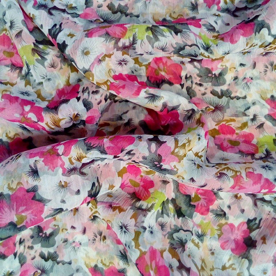 šifon růž.bílé květy