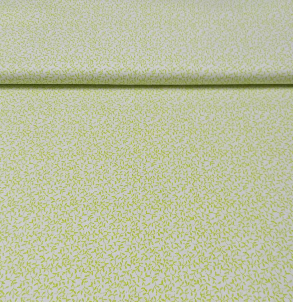 bavlna bílá zelené lístky