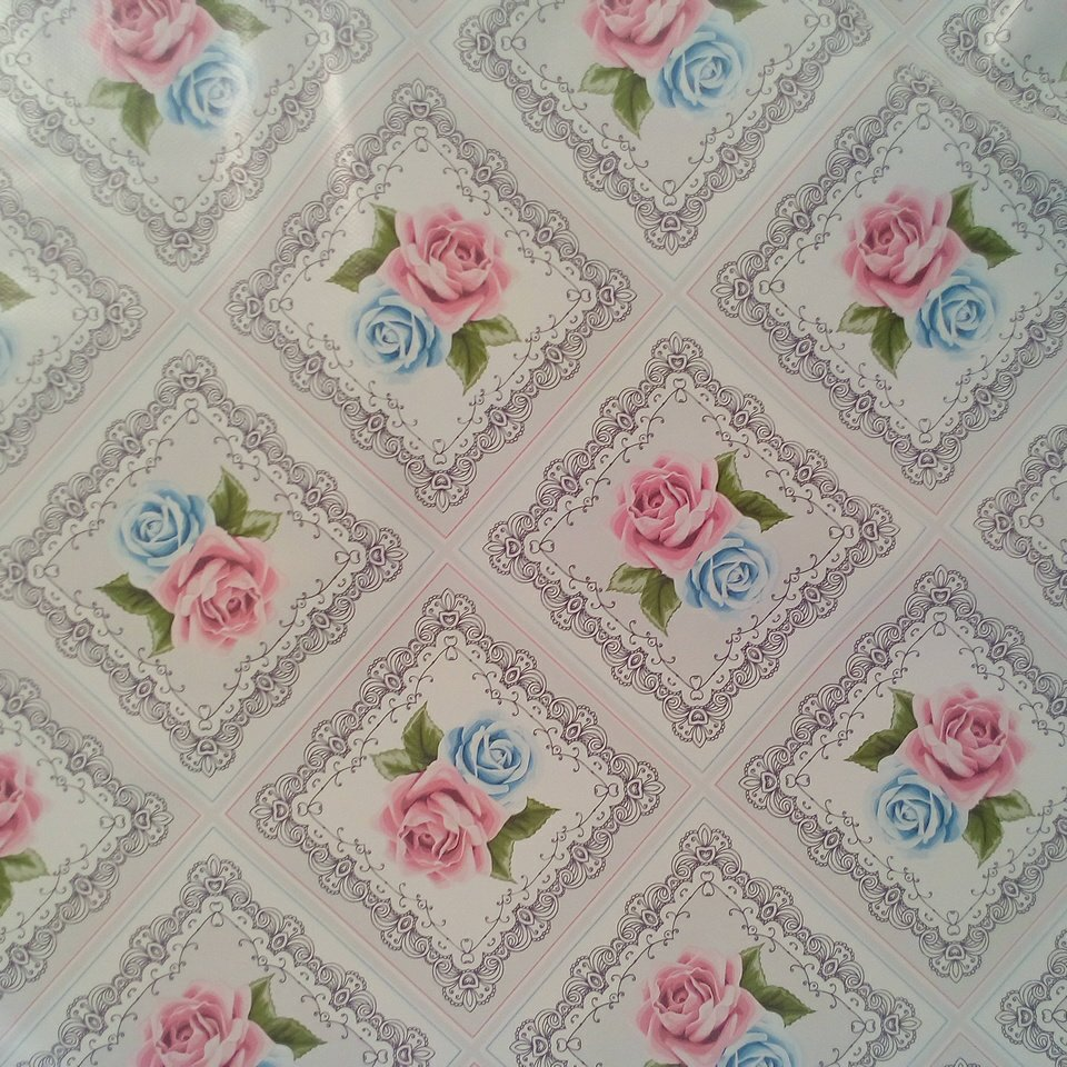 PVC ubrus koso růže