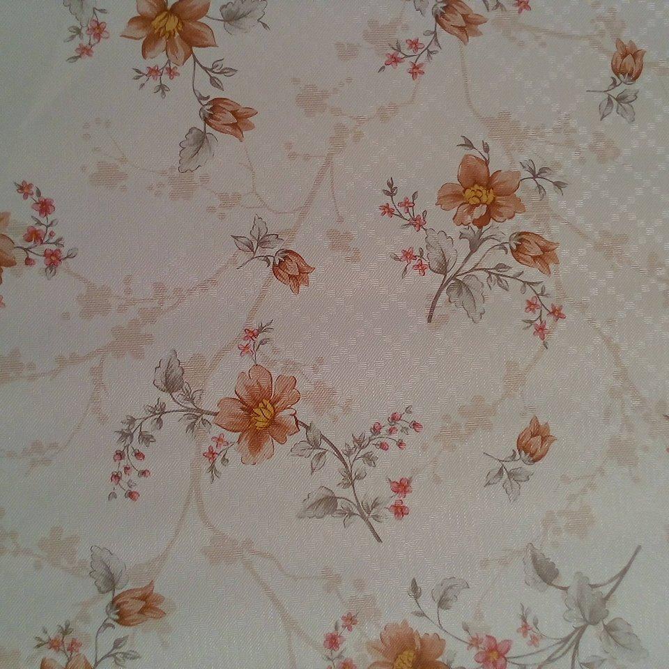 PVC ubrus bílý hnědé květy
