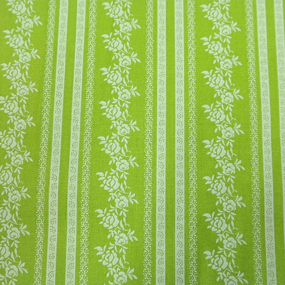 bavlna zeleno bílé pruhy růže 150