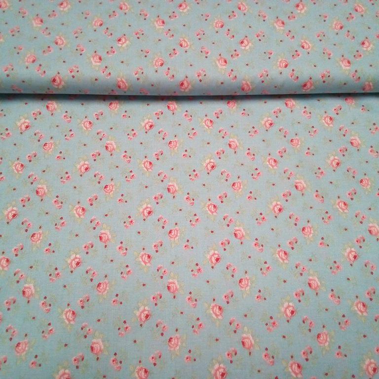 bavlna modrá potisk rúže 8020208/80 140cm