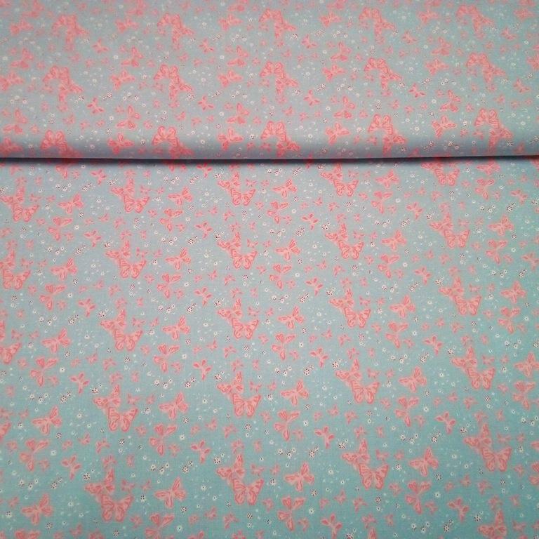 bavlna modrá s motýly 1620505/02 140cm