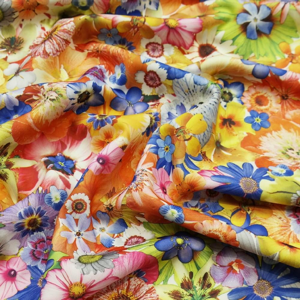 úplet polyester barevné květy