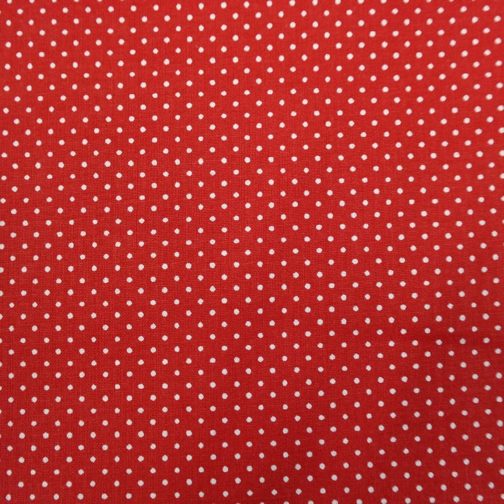 bavlna červeno bílý puntík