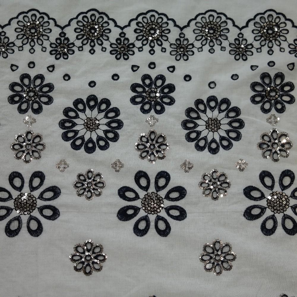 bavlna bílá,vyšívaná bordura s flitry