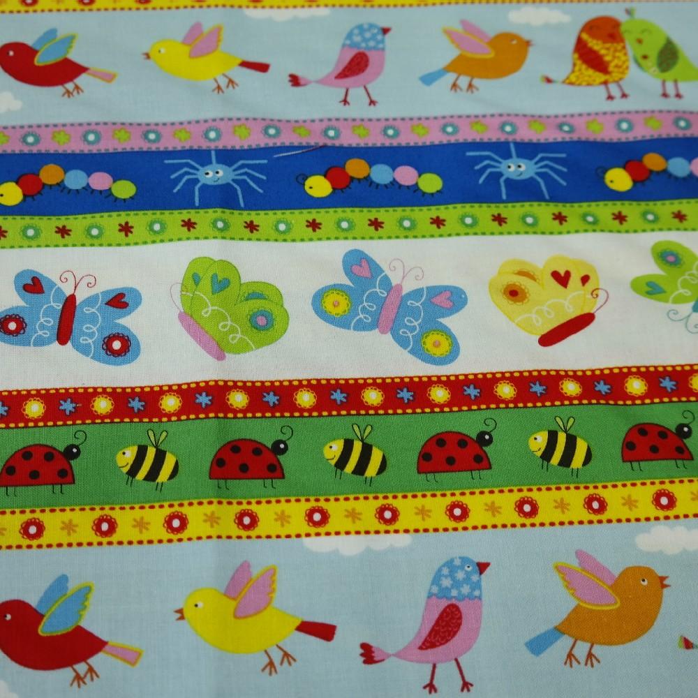 bavlna barevná-ptáč-motýl