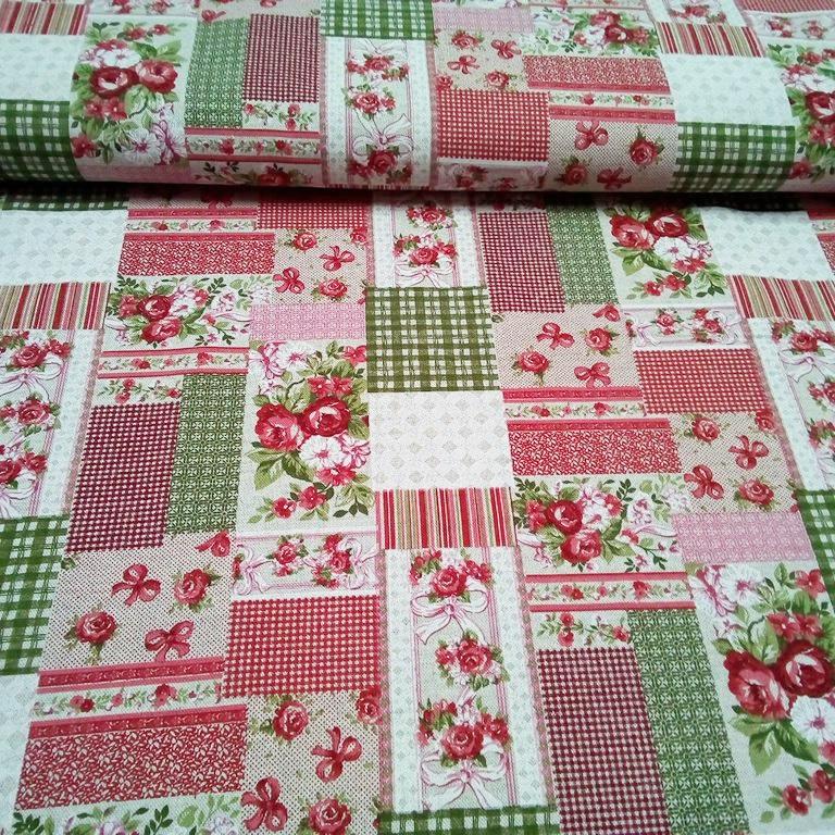 bavlna režná patchwork růže