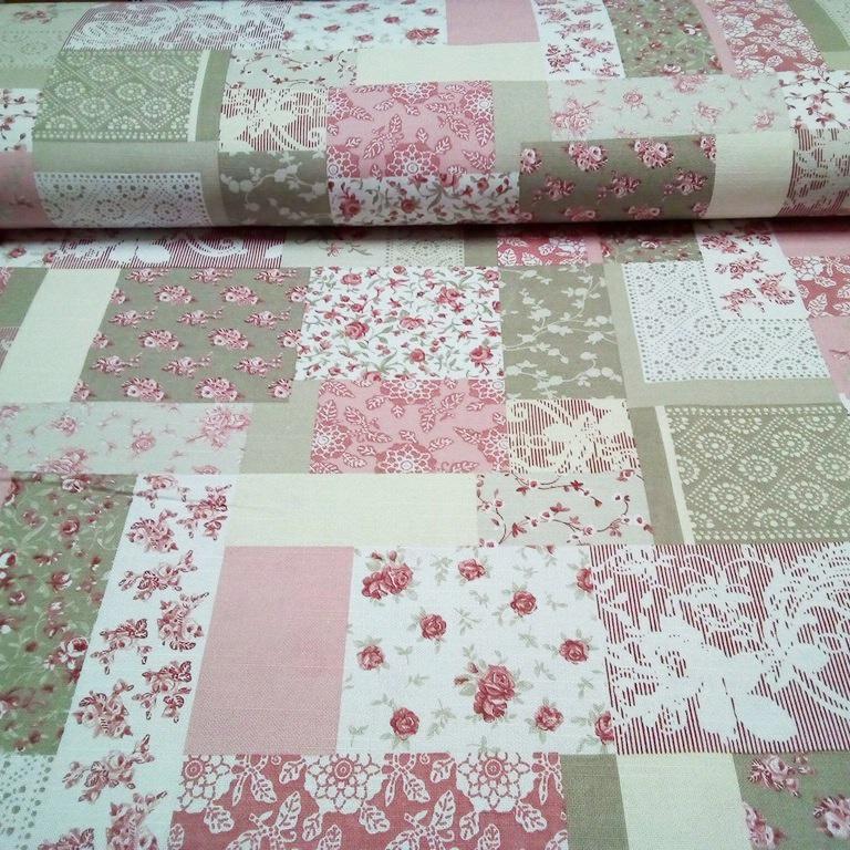 bavlna patchwork růžovo-béžová