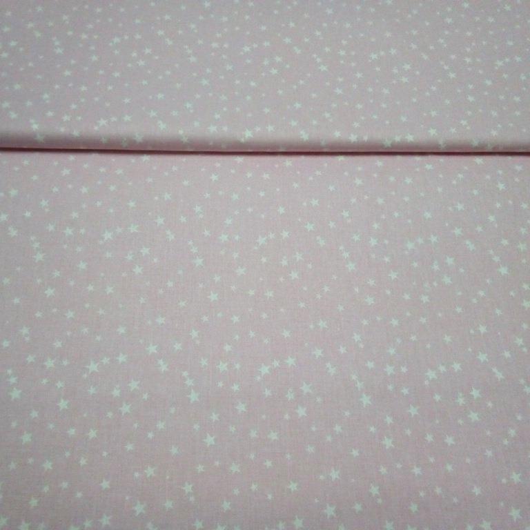 bavlna růžová bílé hvězdičky