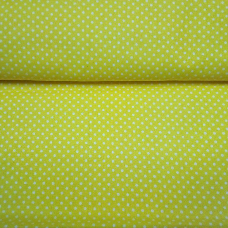 bavlna žlutá bílý puntík