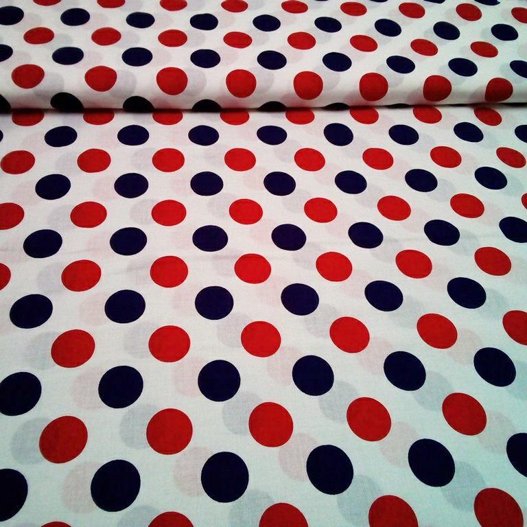 bavlna bílá-modrý a červený puntík