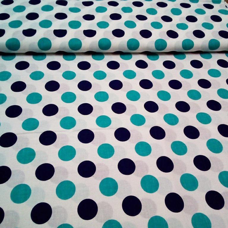 bavlna bílá  -modrý a tyrkysový puntík