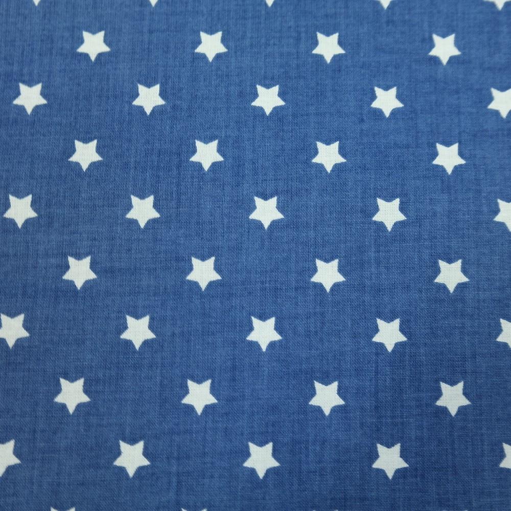 bavlna bílo modrá hvězdička 140
