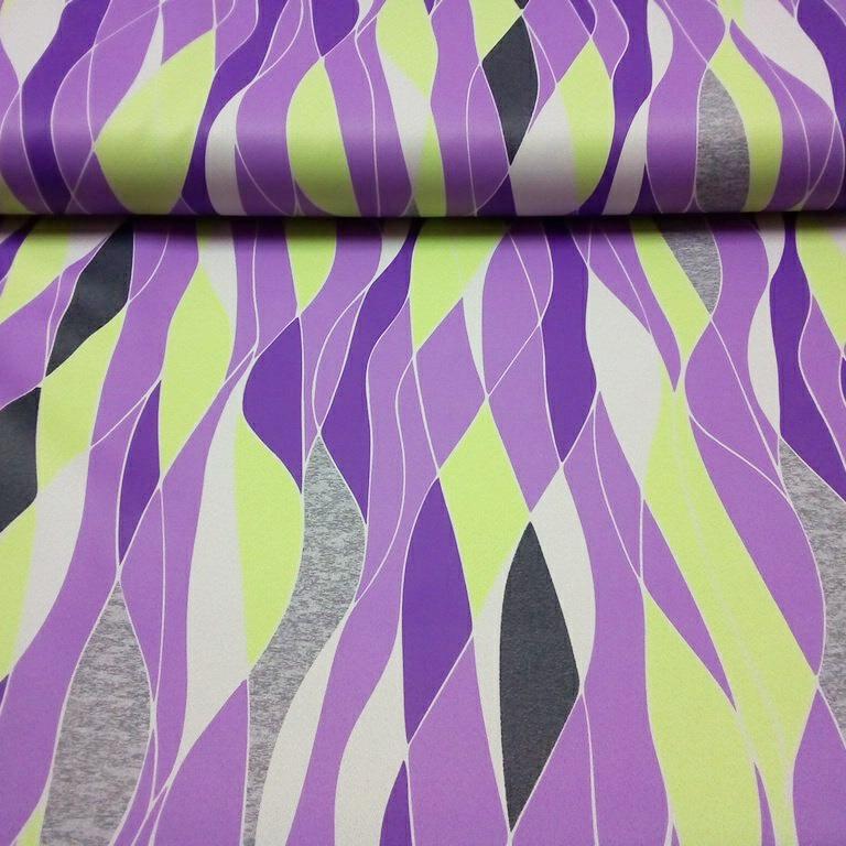 dekoračka black out fialovo- šedo- zelený vzor