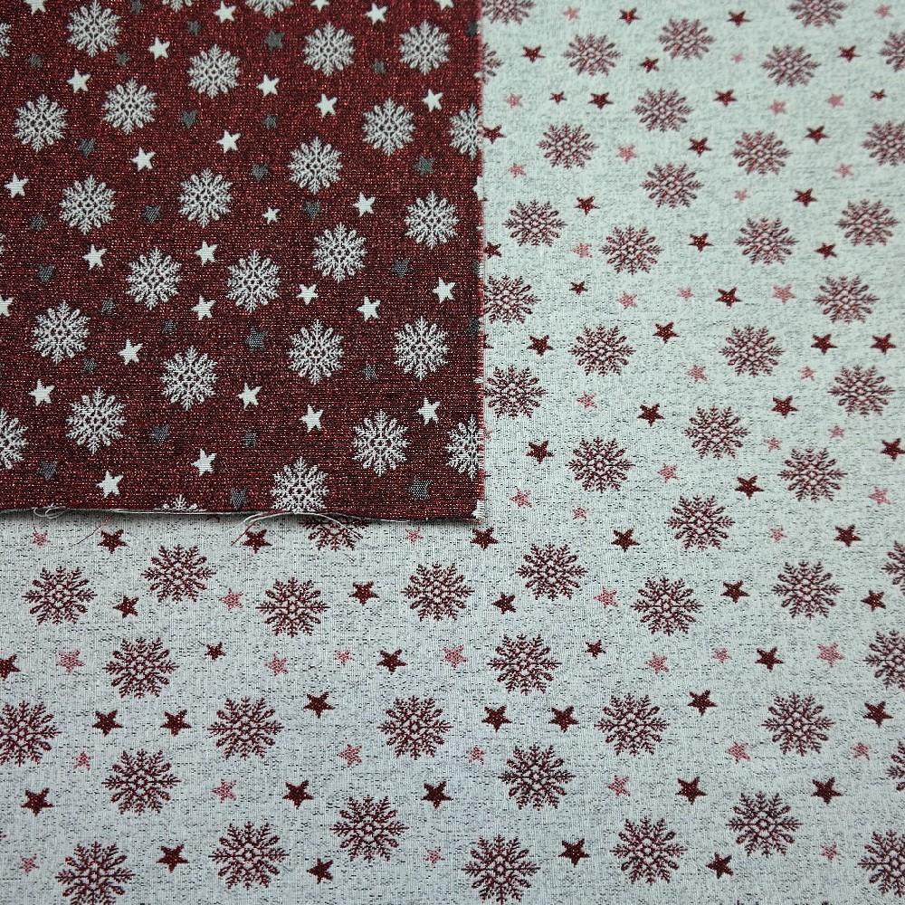 dekoračka vánoční,vločky červené,třpyt.,oboustranná
