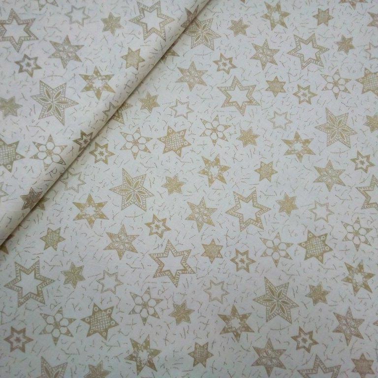 bavlna vánoční zlaté hvězdy