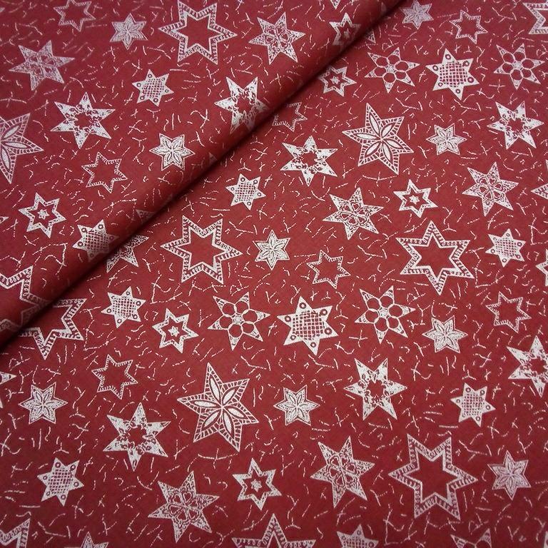 bavlna vánoční bordová stříbrné hvězdy