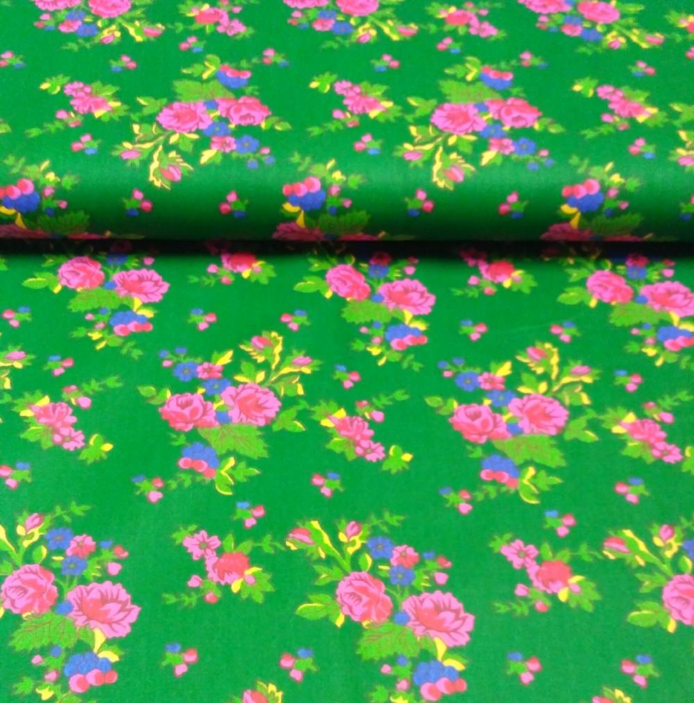bavlna zelená květy