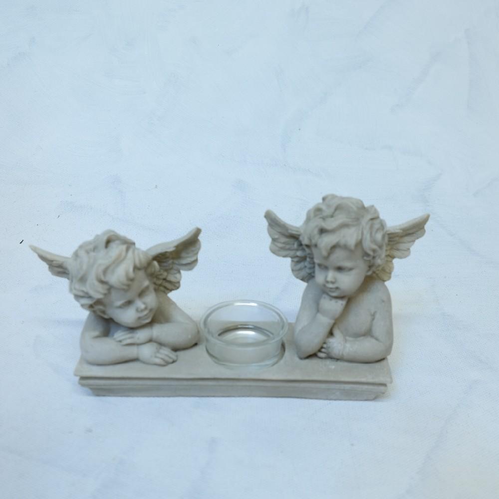 anděl šedý 2ks+svíčka deco