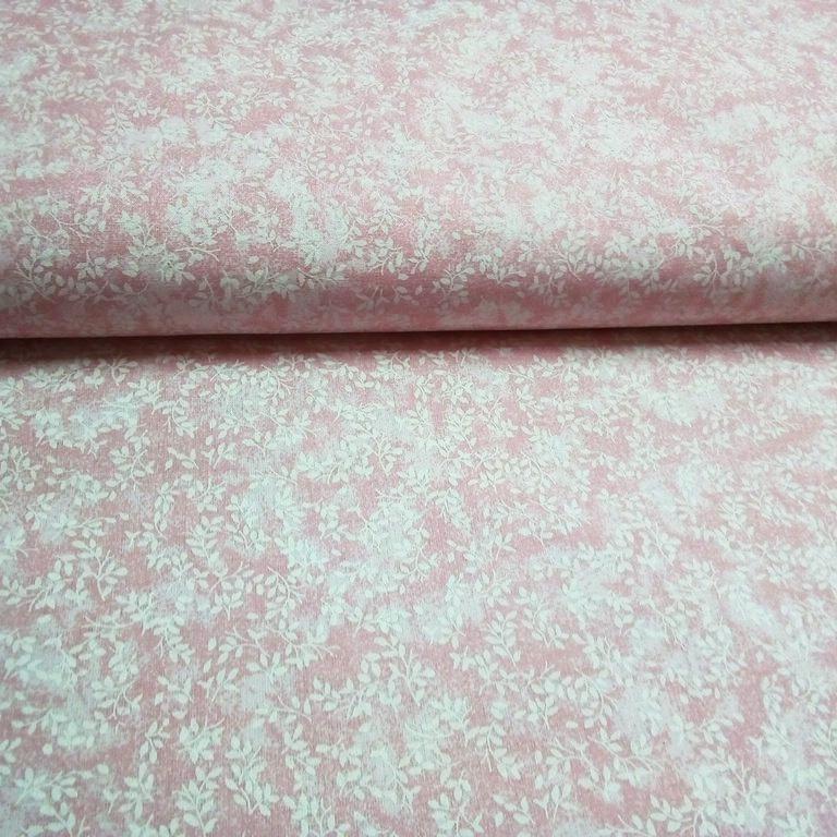 bavlna růžové bílé větvičky 140 cm