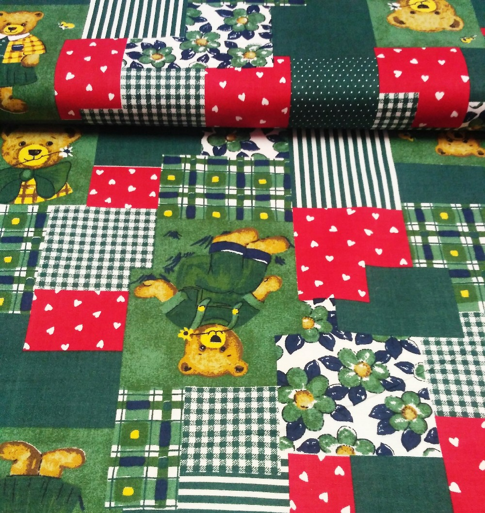 bavlna medvídek patchwork