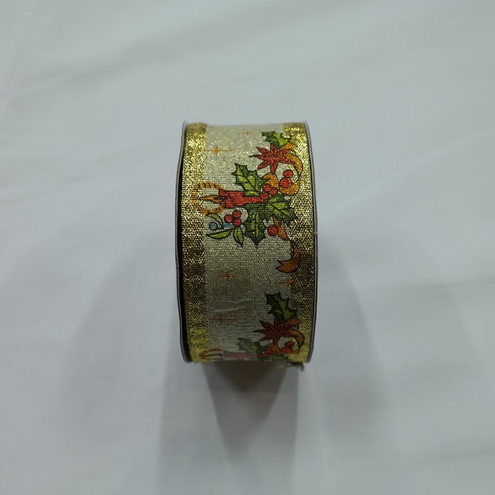 stuha vánoční zlatá 40mm