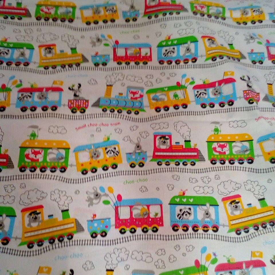 Bavlna bílá barevný vlak