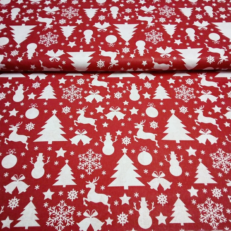 bavlna červená vánoční stromky