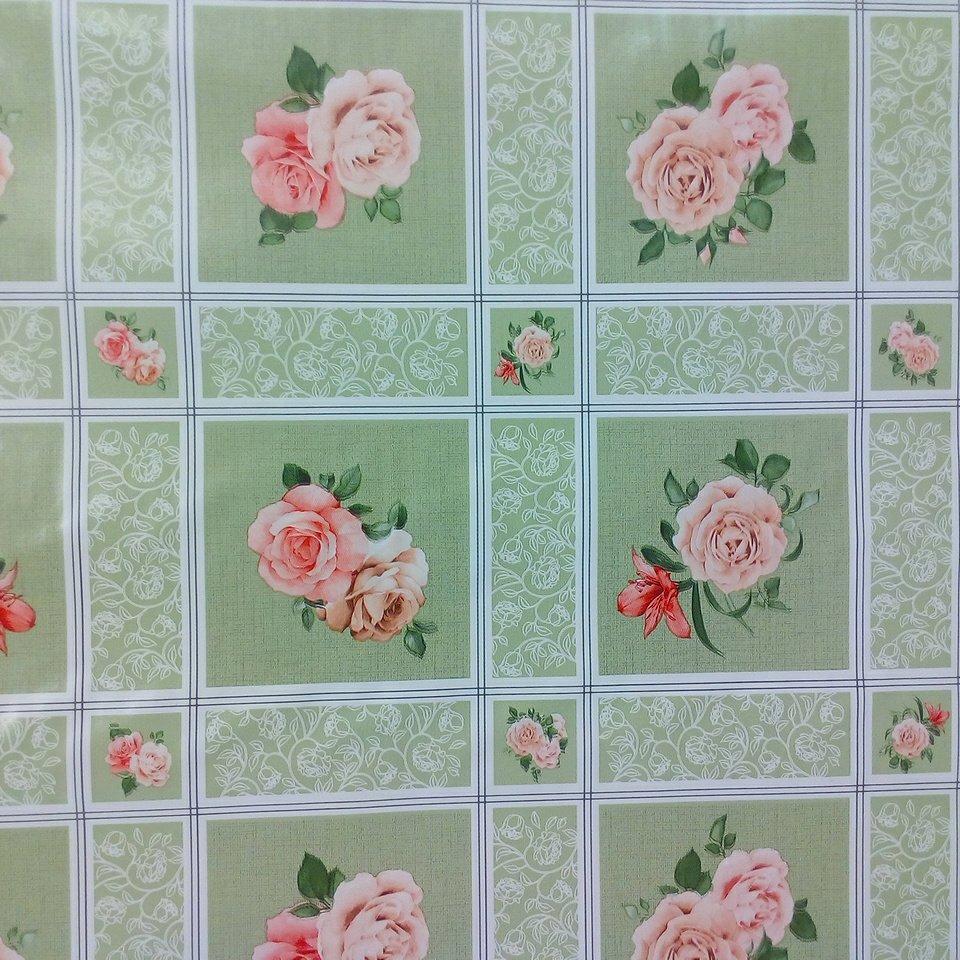PVC ubrus zelená kostka růže