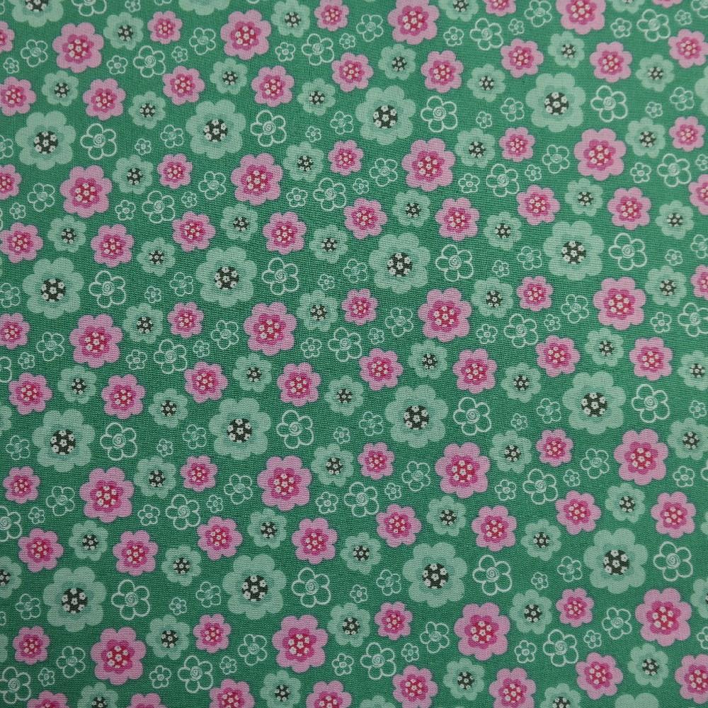 bavlna zel. růž. květ