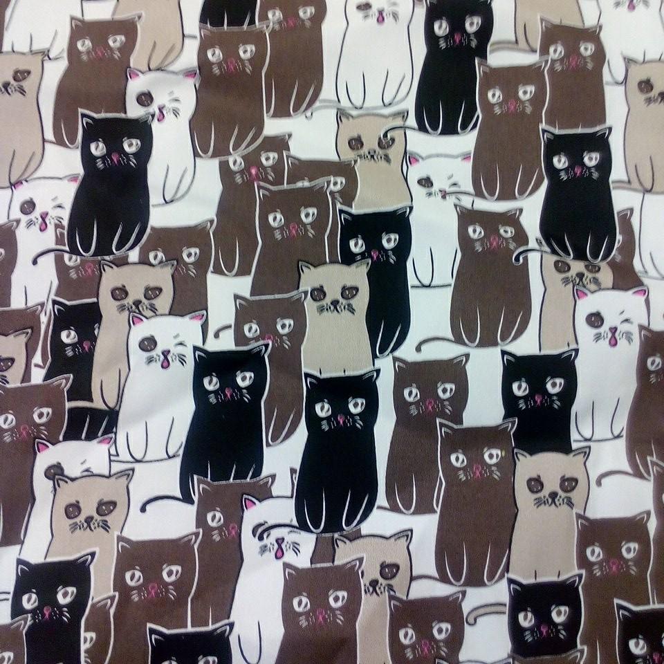 bavlna hnědé kočky elasten