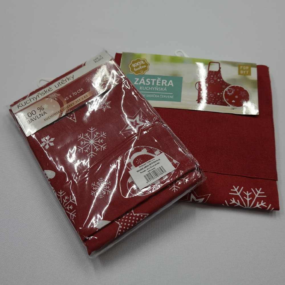 zástěra vánoční červená