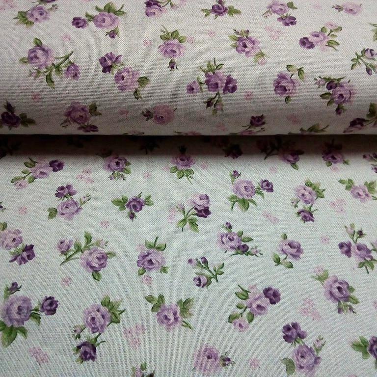 bavlna režná fialové růže