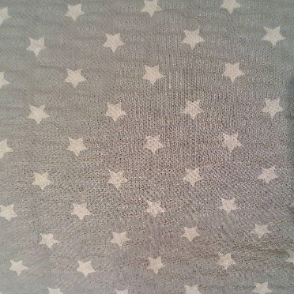 krep šedý bílé hvězdy
