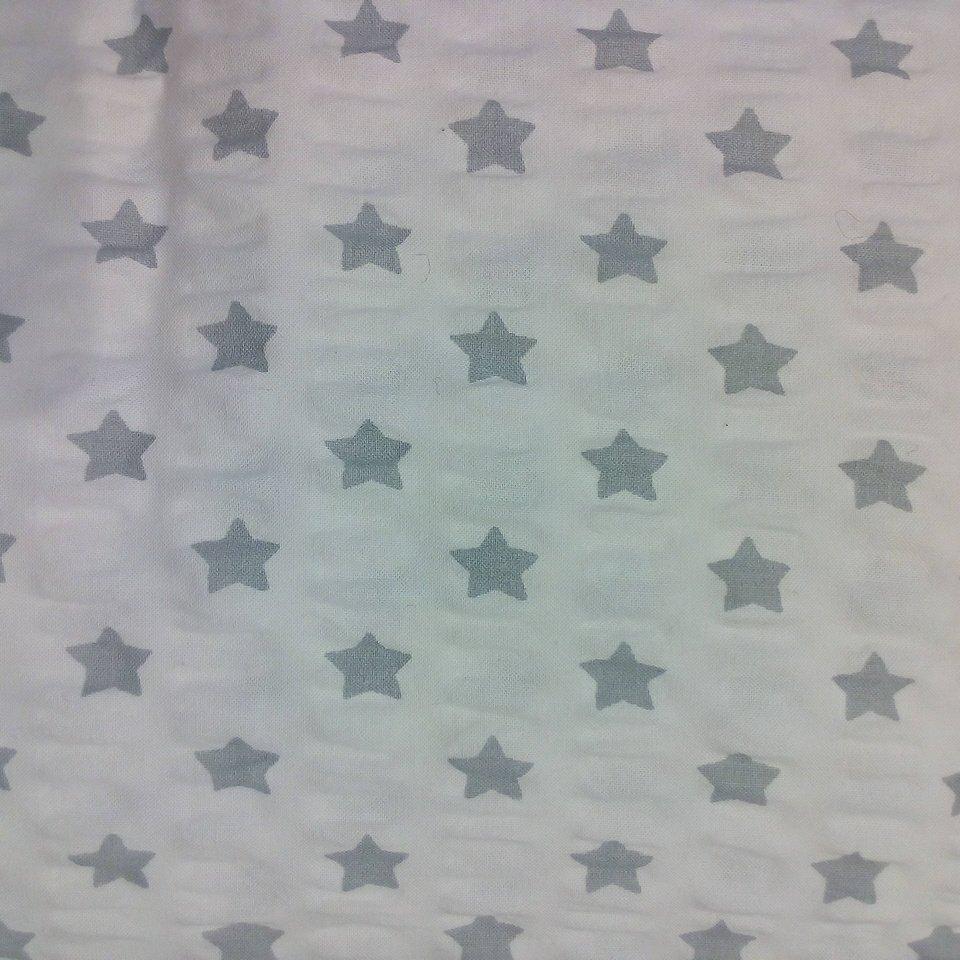 krep bílý šedé hvězdy