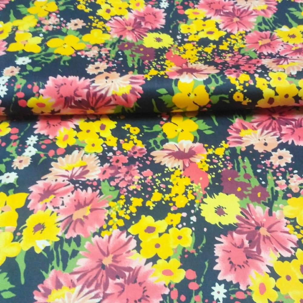bavlna rozkvetlá louka žlu.růž.čer. 140