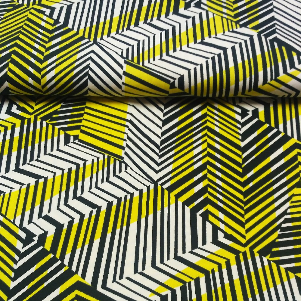 úplet žluto černý abstr.vzor  150 cm