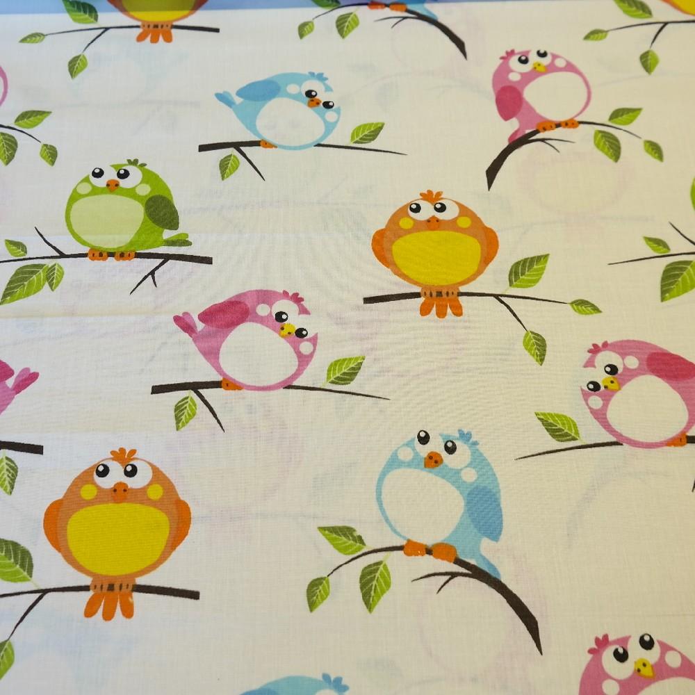 bavlna béžová ptáčci
