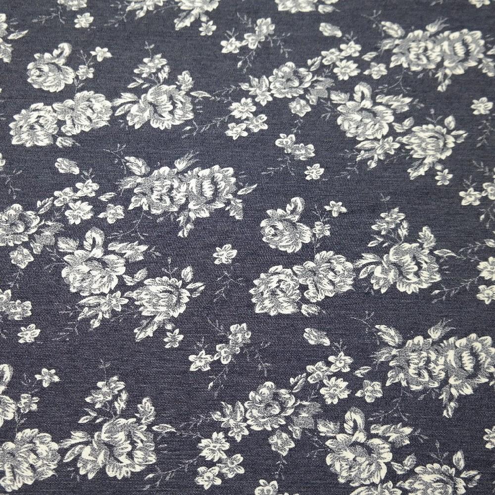 jeans s potiskem,bílé kytky