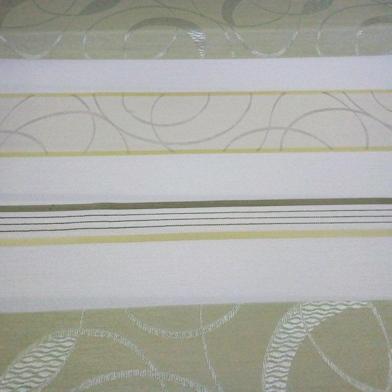 záclona Ve voálová smetanovozelená pruh vzor š.150cm