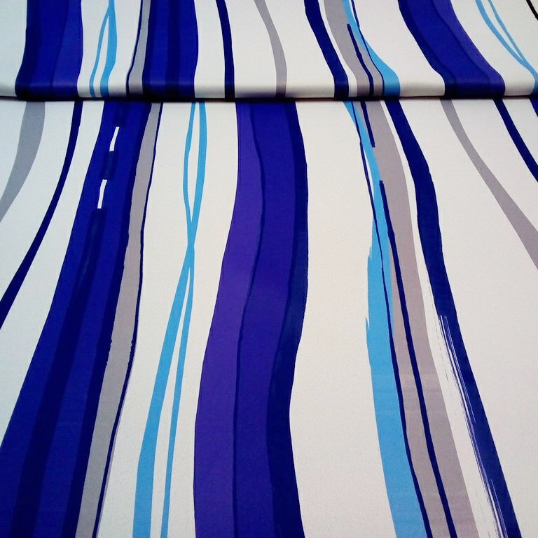 dekoračka blackout modrofialbéž pruh š.150cm